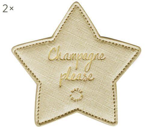 Onderzetters Champagne Please, 2 stuks, Kunststof (polyurethaan), Goudkleurig, 10 x 10 cm