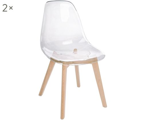 Stühle Easy, 2 Stück, Sitzfläche: Kunststoff, Beine: Buchenholz, Transparent, Buchenholz, B 51 x T 47 cm
