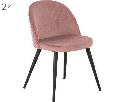 Moderne Samt-Polsterstühle Amy, 2 Stück, Bezug: Samt (100% Polyester), Beine: Metall, pulverbeschichtet, Rosa, B 47 x T 55 cm