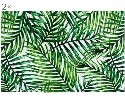 Set tovagliette Farn, 2 pz., Materiale sintetico, Verde, bianco, Larg. 30 x Lung. 45 cm