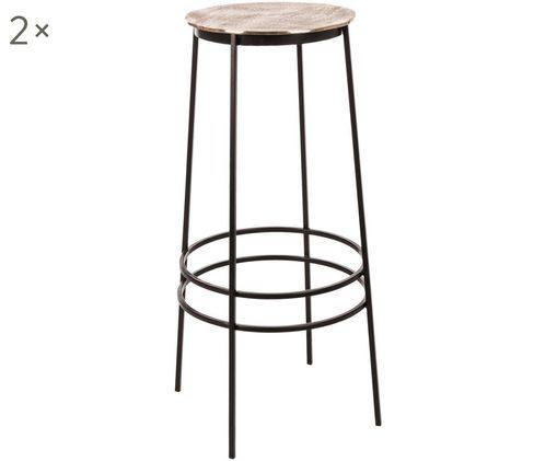 Barhocker Amira, 2 Stück, Sitzfläche: Aluminium, Beine: Metall, pulverbeschichtet, Sitzfläche: GoldfarbenBeine: Schwarz, Ø 36 x H 77 cm