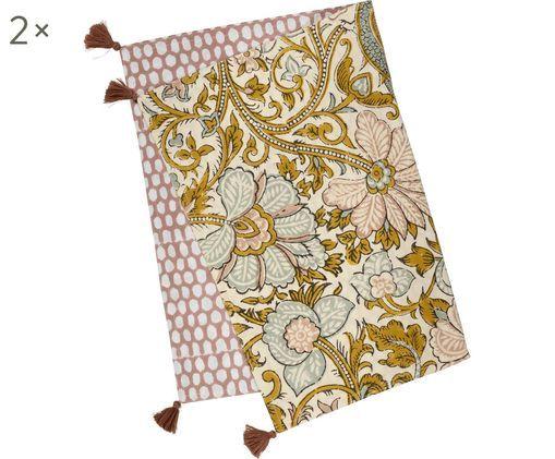 Tovagliette Honeycomb, 2 pz., Cotone, Giallo, rosa chiaro, grigio chiaro, bianco latteo, Larg. 35 x Lung. 50 cm