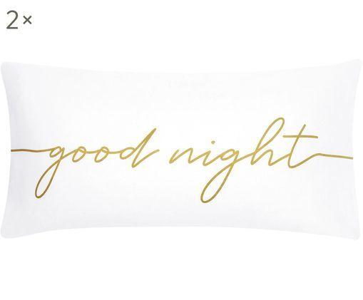 Poszewka na poduszkę z perkalu Writings, 2szt., Biały, odcienie złotego, 40 x 80 cm