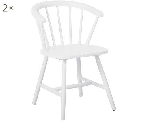 Windsor-Armlehnstühle Megan aus Holz, 2 Stück, Weiß
