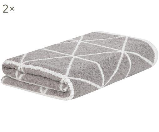 Wende-Handtücher Elina, 2 Stück, Grau, Cremeweiß
