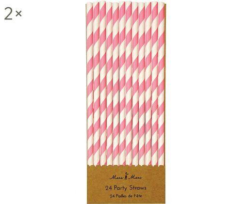 Pailles Agni, 24 pièces, Blanc, rose bonbon