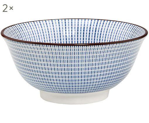 Schälchen Dim Sum, 2 Stück, Keramik, Blau, Weiß, Braun, Ø 13 x H 6 cm