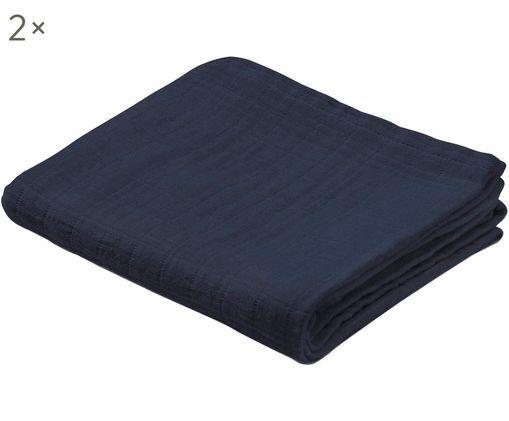 Pañales de tela Muslin, 2uds., Algodón orgánico, Azul oscuro, An 70 x L 70 cm