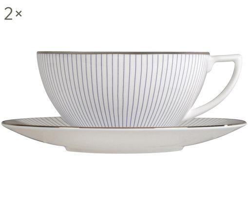 Service de tasses à thé Pin Stripe, 4élém., Blanc, bleu, platine