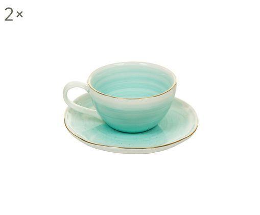 Handgefertigte Espressotassen mit Untertassen Bol mit Goldrand, 2 Stück, Porzellan, Türkisblau, Ø 9 x H 5 cm