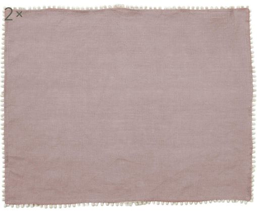 Podkładka z lnu Pom Pom, 2 szt., Len, Brudny różowy, S 35 x D 45 cm