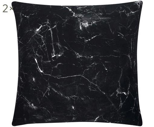 Taies d'oreiller en percale à imprimé marbré Malin, 2 pièces, Noir, blanc