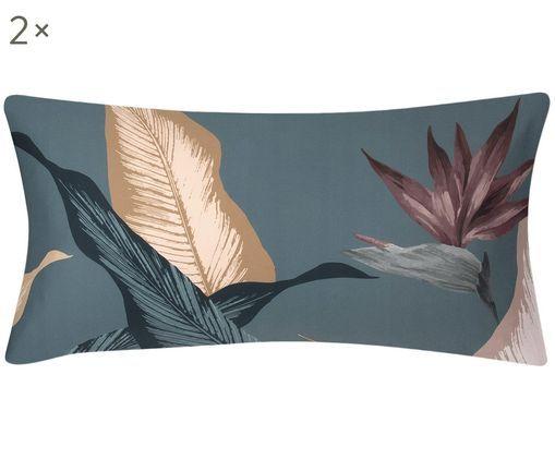 Poszewka na poduszkę z satyny bawełnianej Flora, 2 szt., Przód: wielobarwny Tył: petrol, S 40 x D 80 cm