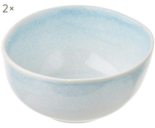 Ciotola fatta a mano Amalia 2 pz, Ceramica, Azzurro, bianco crema, Ø 14 x Alt. 7 cm