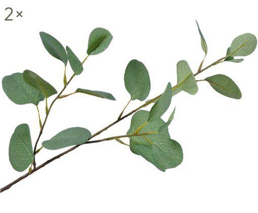 Kunstblumen Eukalyptus, 2 Stück, Polyester, Kunststoff, Metall, Grün, L 75 cm