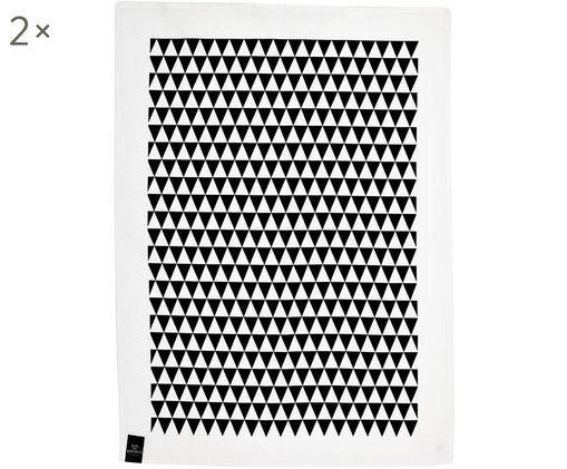 Canovaccio Dreieck, 2 pz., 50% lino, 50% cotone, Bianco, nero, Larg. 50 x Lung. 70 cm