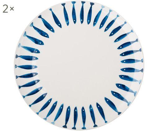 Piatto piano Small Fish, 2 pz., Dolomite, Bianco, blu, Ø 27 cm