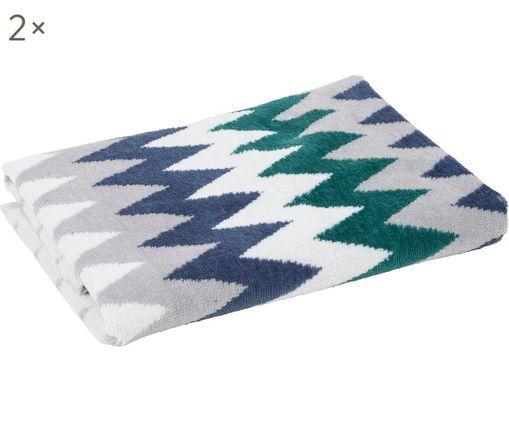 Asciugamano per ospiti Hanneke 2 pz, Cotone, Blu, grigio, bianco, verde, Larg. 30 x Lung. 50 cm