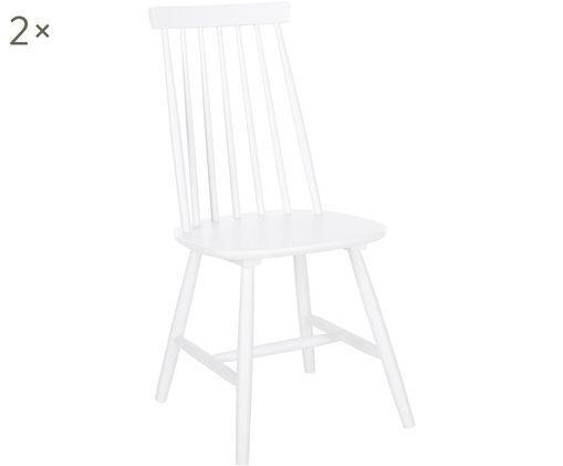 Houten stoelen Milas, 2 stuks, Gelakt rubberhout, Wit, B 52 x D 45 cm