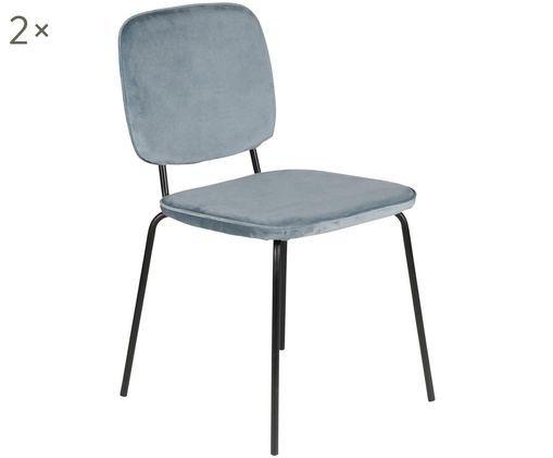 Samt-Stühle Clyde, 2Stück, Graublau, Schwarz