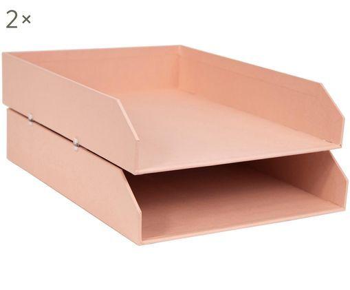 Dokumenten-Ablagen Hakan, 2 Stück, Fester, laminierter Karton, Altrosa, B 23 x T 31 cm