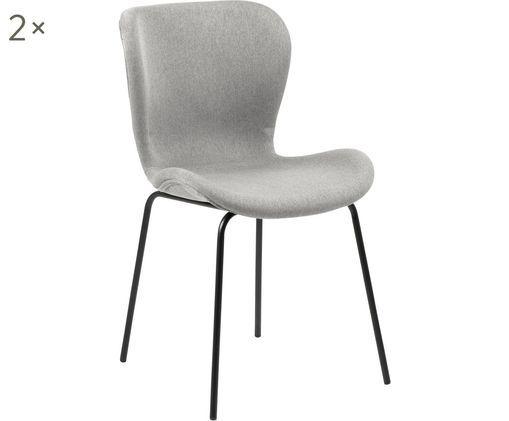 Krzesło tapicerowane Batilda, 2 szt., Tapicerka: tkanina, Nogi: metal powlekany, Jasny szary, czarny, S 48 x G 55 cm