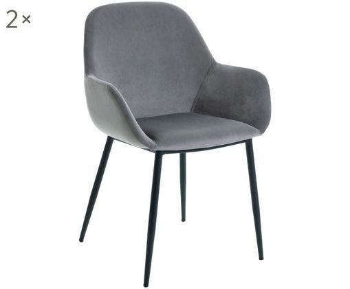 Samt-Armlehnstühle Kona, 2 Stück, Bezug: Polyestersamt 50.000 Sche, Beine: Metall, lackiert, Grau, B 59 x T 52 cm