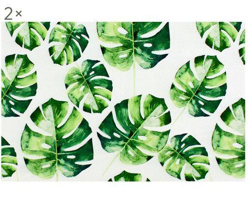 Podkładka Monstera, 2 szt., Tworzywo sztuczne, Zielony, biały, S 30 x D 45 cm