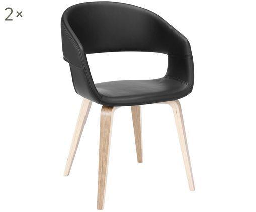 Kunstleder-Armlehnstühle Nova, 2 Stück, Beine: Eichenschichtholz, weiß g, Bezug: Kunstleder (Polyurethan), Schwarz, Eiche, 50 x 77 cm
