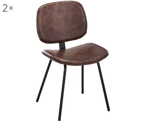 Imitatieleren gestoffeerde stoelen Liam, 2 stuks, Bekleding: bruin. Poten: mat zwart
