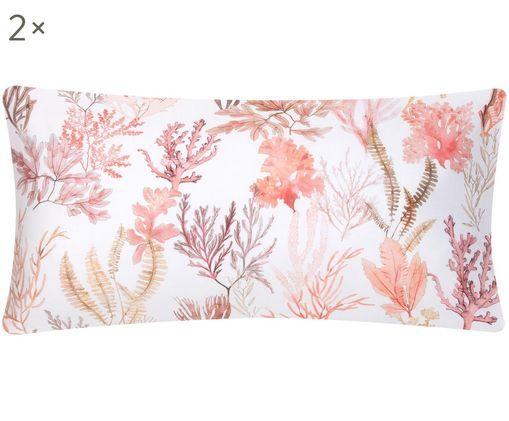 Dwustronna poszewka na poduszkę z satyny bawełnianej Coral, 2 szt., Wielobarwny, biały