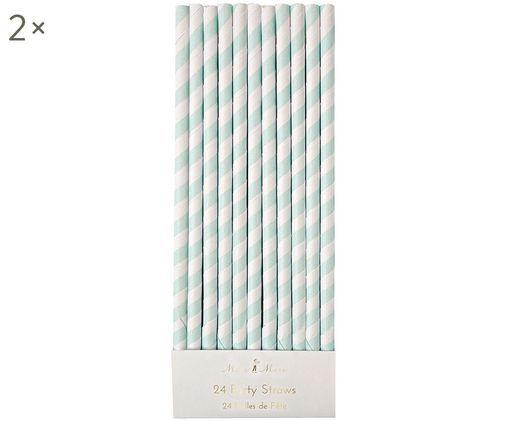 Cannucce Agni, 24 pz., Carta, Bianco, verde menta, Ø 1 x Alt. 20 cm