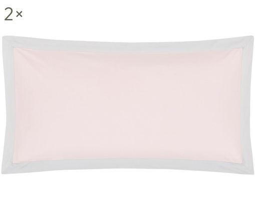 Perkal-Kissenbezüge Joanna mit farblich abgesetztem Stehsaum, 2 Stück, Webart: Perkal, Rosa, Hellgrau, 40 x 80 cm