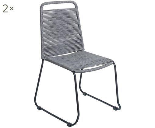 Sedie da giardino Suture 2 pz, Gambe: acciaio inossidabile vern, Grigio, Larg. 53 x Prof. 53 cm