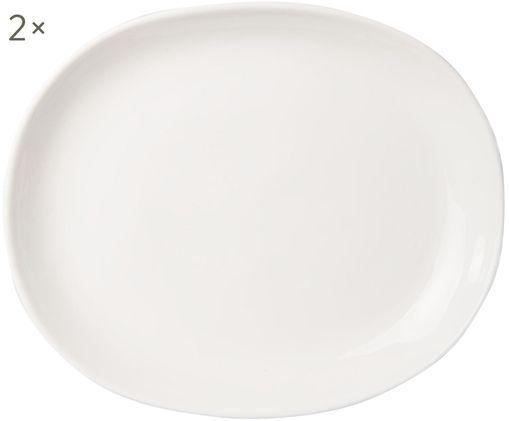 Plato llano Clay, 2uds., Porcelana, Blanco, Ø 25 cm