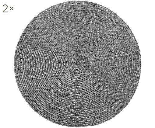 Tovaglietta americana in plastica rotonda Ambiente 2 pz, Materiale sintetico, Grigio scuro, Ø 38 cm