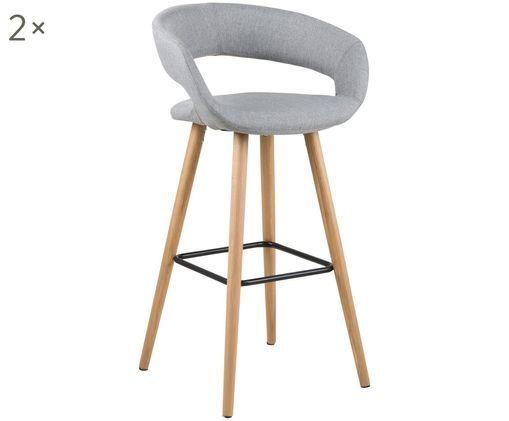 Barstühle Grace, 2 Stück, Bezug: 100% Polyester, Beine: Eichenholz, Bezug: Hellgrau Beine: Eichenholz<br>Fußstütze: Schwarz, 56 x 97 cm