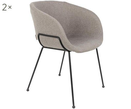 Krzesło z podłokietnikami Feston, 2 szt., Tapicerka: 50 %poliuretan, 50%poli, Stelaż: płyta wiórowa, Szary, S 57 x W 77 cm