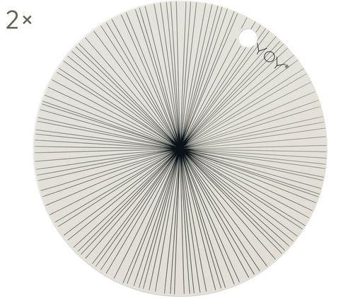 Set tovagliette rotonde Ray 2 pz, Silicone, Bianco, nero, Ø 39 cm