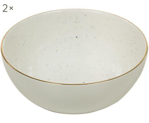 Handgefertigte Schälchen Bol mit Goldrand, 2 Stück, Porzellan, Cremeweiß, Ø 12 x H 6 cm