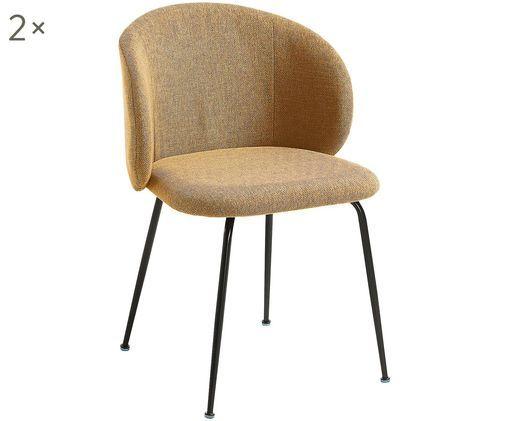Sedia imbottita Minna, 2 pz., Seduta: tessuto, Struttura: metallo verniciato, Giallo senape, nero, Larg. 57 x Prof. 56 cm