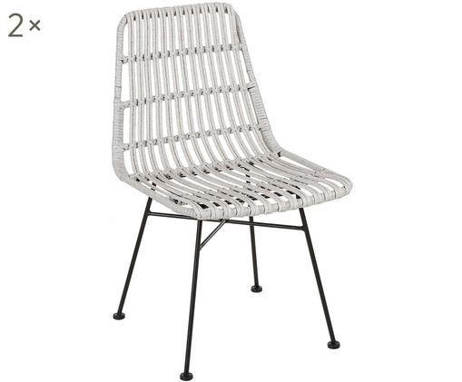 Krzesło Tulum, 2 szt., Stelaż: metal malowany proszkowo, Jasny szary, S 47 x G 62 cm