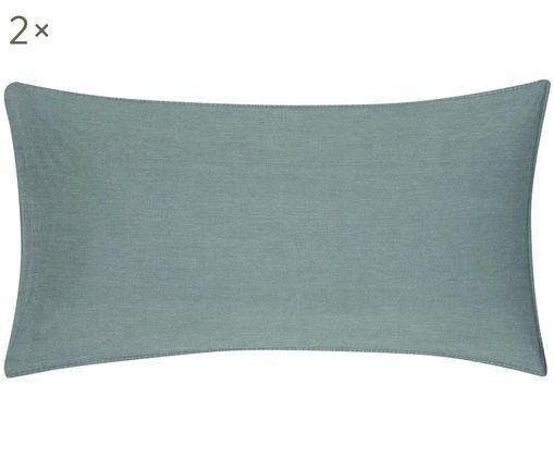 Poszewka na poduszkę z efektem sprania Arlene, 2 szt., Ciemnyzielony, S 40 x D 80 cm