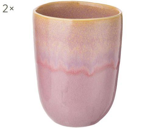 Handbemalte Kaffeebecher Copo Alto, 2 Stück, Steingut, Rosa, Gelb, Ø 8 x H 11 cm