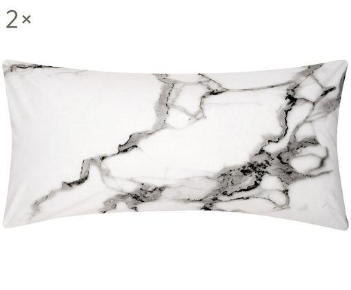 Perkal-Kissenbezüge Malin mit Marmor Muster, 2 Stück, Webart: Perkal, Vorderseite: Marmormuster, GrauRückseite: Hellgrau, Uni, 40 x 80 cm