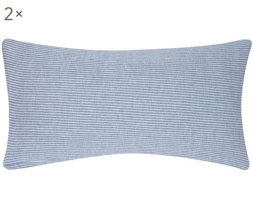 Poszewka na poduszkę Rae, 2 szt., Niebieski, biały, S 40 x D 80 cm