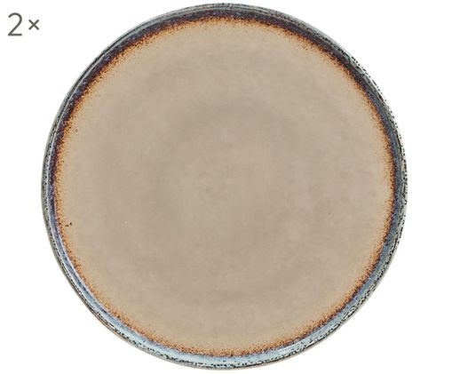 Piatto piano Nomimono, 2 pz., Terracotta, Grigio, grigio, Ø 27 cm