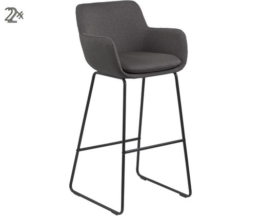 Chaises de bar avec repose-pieds Lisa, 2pièces, Gris foncé, noir