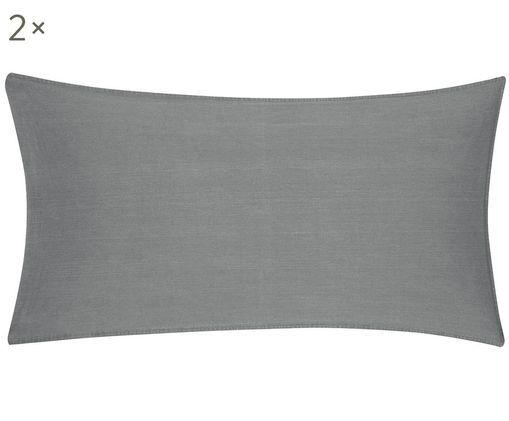 Poszewka na poduszkę z efektem sprania Arlene, 2 szt., Ciemnyszary, S 40 x D 80 cm
