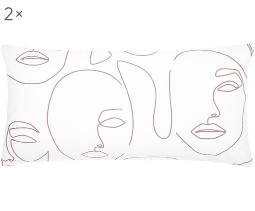 Perkal-Kissenbezüge Aria mit abstrakter One Line Zeichnung, 2 Stück, Webart: Perkal, Weiß, Rosa, 40 x 80 cm